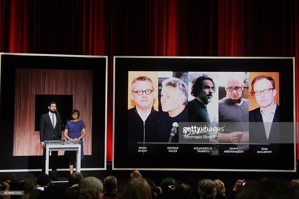 Actor John Krasinski and President of the Academy Cheryl Boone Isaacs speak on stage during the 88th Oscars Nominations Announcement at Academy Of Motion Picture Arts And Sciences on January 14, 2016 in Los Angeles, California.