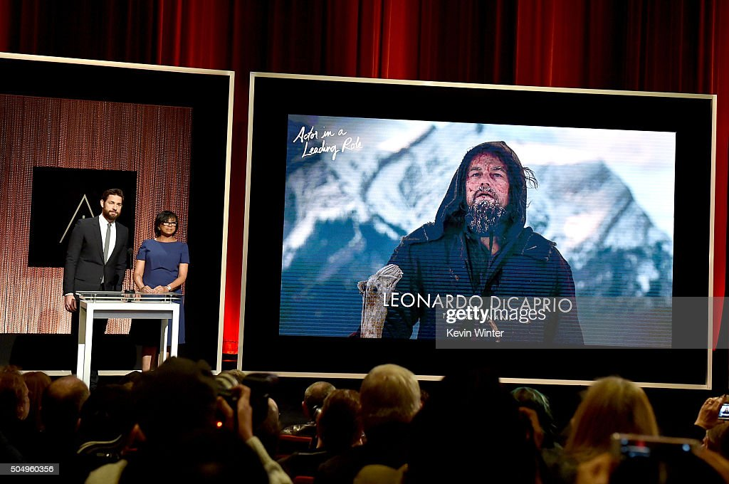 Actor John Krasinski and President of the Academy of Motion Picture Arts and Sciences Cheryl Boone Isaacs announce Leonardo DiCaprio as a nominee for Best Actor in a Leading Role in the film 'The Revenant' during the 88th Oscars Nominations Announcement at the Academy of Motion Picture Arts and Sciences on January 14, 2016 in Los Angeles, California.