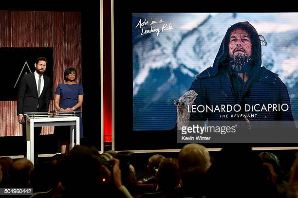 Actor John Krasinski and President of the Academy of Motion Picture Arts and Sciences Cheryl Boone Isaacs announce Leonardo DiCaprio as a nominee for...