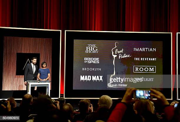 Actor John Krasinski and President of the Academy of Motion Picture Arts and Sciences Cheryl Boone Isaacs announce the nominees for Best Motion...