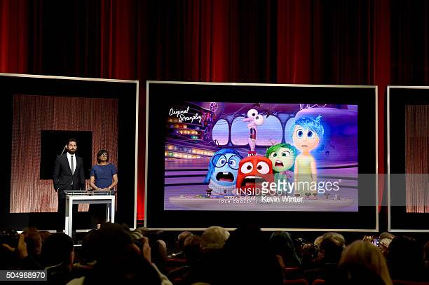 Actor John Krasinski and President of the Academy of Motion Picture Arts and Sciences Cheryl Boone Isaacs announce 'Inside Out' as a nominee for Best...