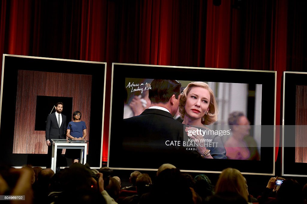 Actor John Krasinski and President of the Academy of Motion Picture Arts and Sciences Cheryl Boone Isaacs announce Cate Blanchett as a nominee for Best Actress in a Leading Role in the film 'Carol' during the 88th Oscars Nominations Announcement at the Academy of Motion Picture Arts and Sciences on January 14, 2016 in Los Angeles, California.