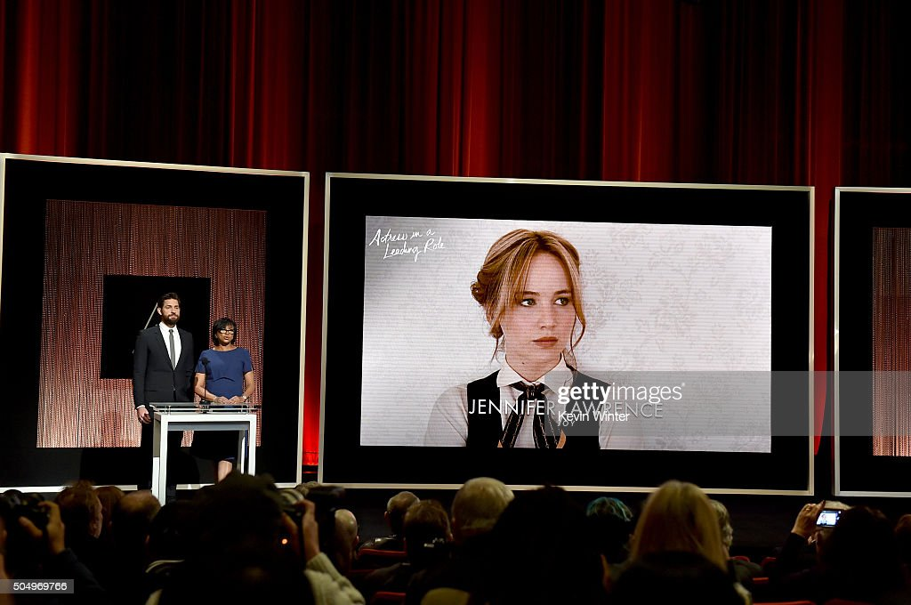 Actor John Krasinski and President of the Academy of Motion Picture Arts and Sciences Cheryl Boone Isaacs announce Jennifer Lawrence as a nominee for Best Actress in a Leading Role in the film 'Joy' during the 88th Oscars Nominations Announcement at the Academy of Motion Picture Arts and Sciences on January 14, 2016 in Los Angeles, California.