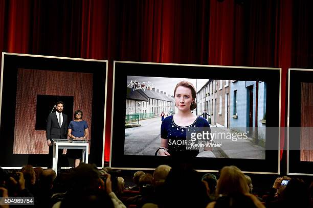 Actor John Krasinski and President of the Academy of Motion Picture Arts and Sciences Cheryl Boone Isaacs announce Saoirse Ronan as a nominee for...