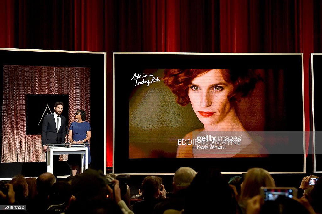 Actor John Krasinski and President of the Academy of Motion Picture Arts and Sciences Cheryl Boone Isaacs announce Eddie Redmayne as a nominee for Best Actor in a Leading Role in the film 'The Danish Girl' during the 88th Oscars Nominations Announcement at the Academy of Motion Picture Arts and Sciences on January 14, 2016 in Los Angeles, California.