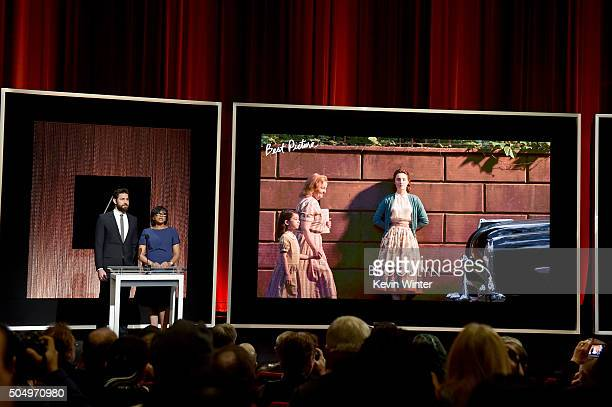 Actor John Krasinski and President of the Academy of Motion Picture Arts and Sciences Cheryl Boone Isaacs announce 'Brooklyn' as a nominee for Best...