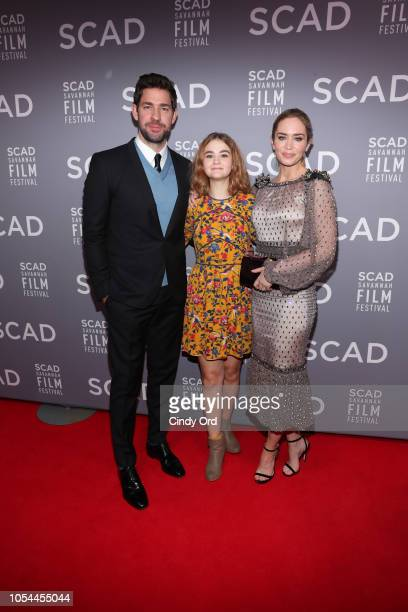 Actor John Krasinski, Emily Blunt, and Millicent Simmonds attend the 21st SCAD Savannah Film Festival opening night on October 27, 2018 in Savannah,...