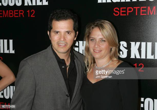 Actor John Leguizamo and Justine Maurer attends the New York premiere of 'Righteous Kill' at the Ziegfeld Theater on September 10 2008 in New York...