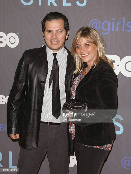 Actor John Leguizamo and wife Justine Maurer attend Cinema Society presents the world premiere of Girls season 2 at NYU Skirball Center on January 9...