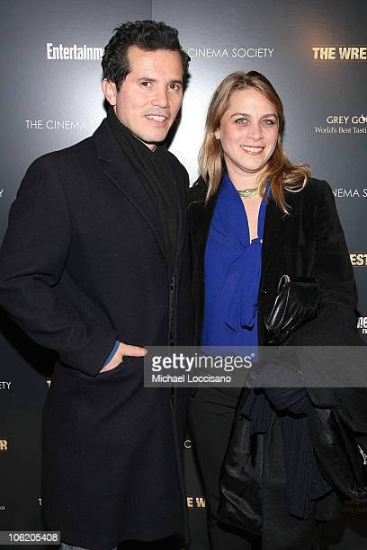 Actor John Leguizamo and wife Justine Maurer attend the Cinema Society screening of The Wrestler at the Tribeca Grand Screening Room on December 8...