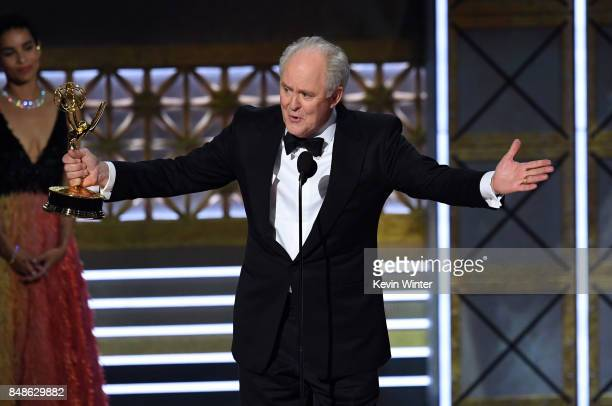Actor John Lithgow accepts Outstanding Supporting Actor in a Drama Series for 'The Crown' onstage during the 69th Annual Primetime Emmy Awards at...