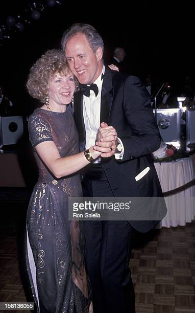 Actor John Lithgow and wife Mary Yeager attending 43rd Annual Tony Awards on June 4 1989 at the New York Hilton Hotel in New York City New York