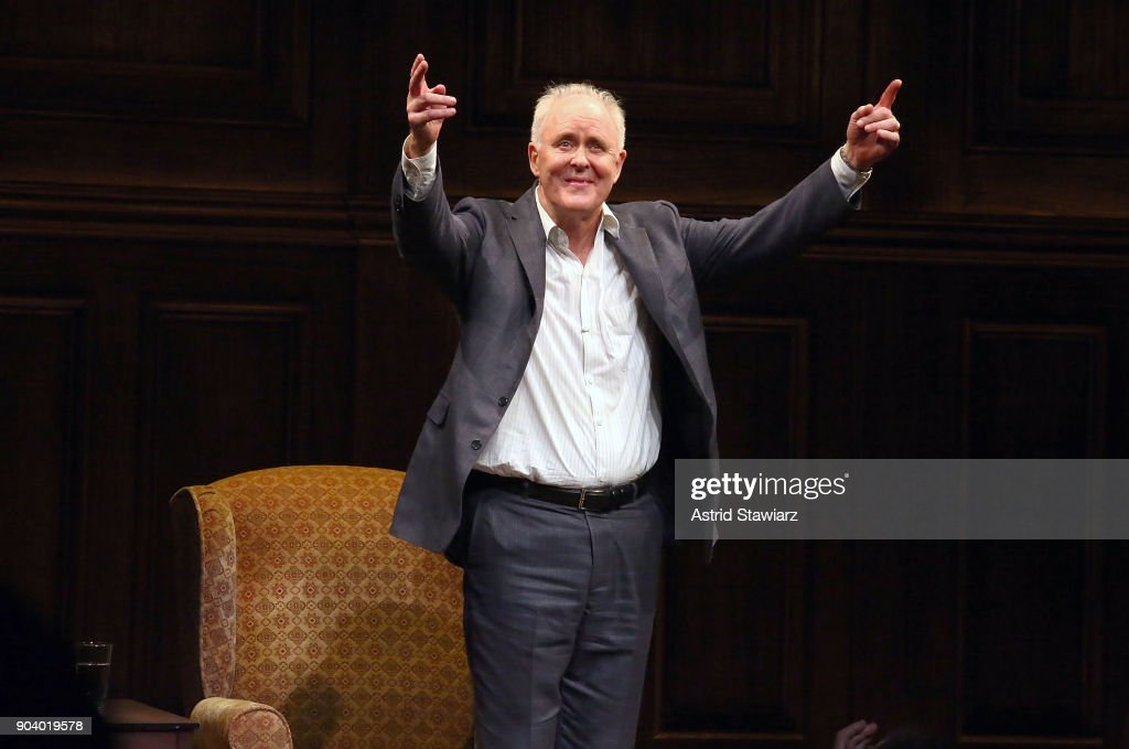 Actor John Lithgow poses for photos during curtain call of 'John Lithgow: Stories By Heart' at American Airlines Theatre on January 11, 2018 in New York City.