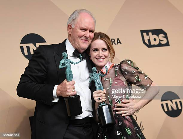 Actor John Lithgow winner of the Outstanding Male Actor in a Drama Series for 'The Crown' and actor Claire Foy winner of the Outstanding Female Actor...