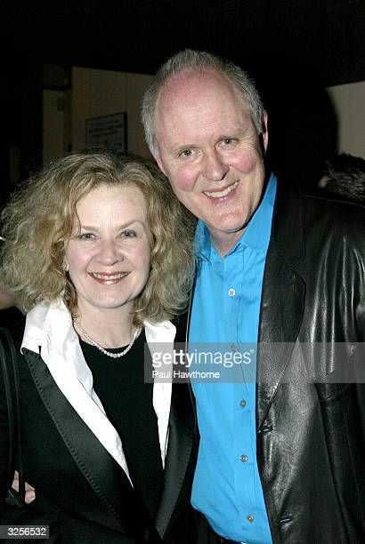 Actor John Lithgow with his wife Mary Yeager pose for a photo during a reception for the opening night of Mrs Farnsworth April 7 2004 in New York City