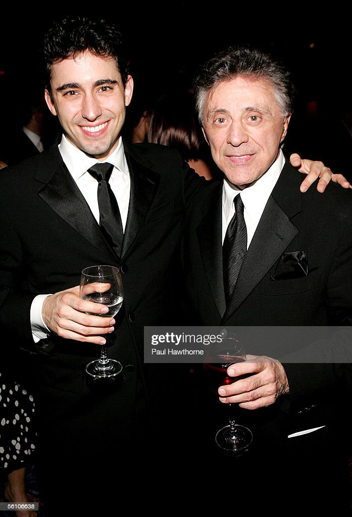 Actor John Lloyd Young and singer Frankie Valli attend the play opening night of 'Jersey Boys' after party at the Marriott Marquis November 6, 2005 in New York City.
