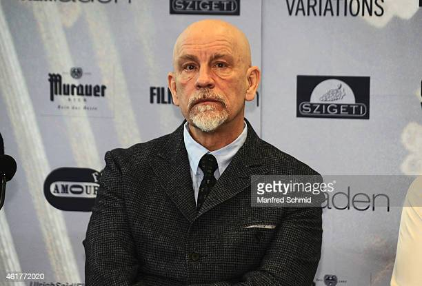 Actor John Malkovich poses for a photograph during the 'Casanova Variations' press conference at Ronacher Theater on January 19 2015 in Vienna Austria