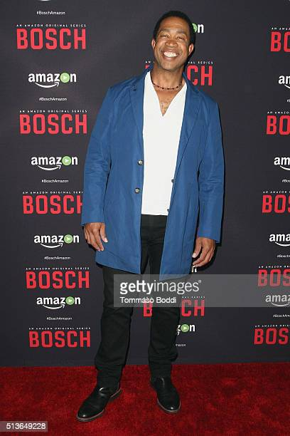 Actor John Marshall Jones attends the Premiere Of Amazon's Bosch Season 2 held at the SilverScreen Theater at the Pacific Design Center on March 3...