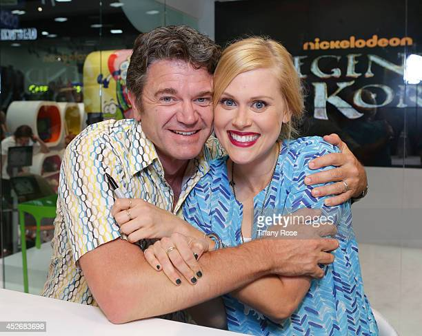 Actor John Michael Higgins and actress Janet Varney attend the Legend of Korra signing at the 2014 San Diego ComicCon International Day 3 on July 25...