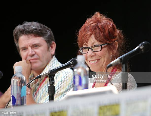 Actor John Michael Higgins and actress Mindy Sterling speak at the Legend of Korra panel at the 2014 San Diego ComicCon International Day 3 on July...