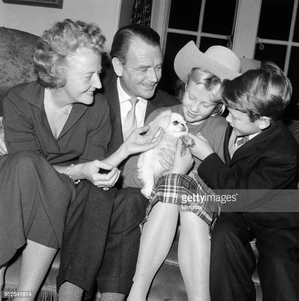 Actor John Mills at home with his wife Mary Hayley Bell and two of their children Hayley and Jonathan 31st December 1959