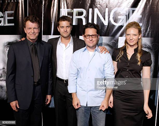 Actor John Noble actor Joshua Jackson executive producer JJ Abrams and actress Anna Torv arrive at the DVD Launch for Season 1 of 'Fringe' on August...