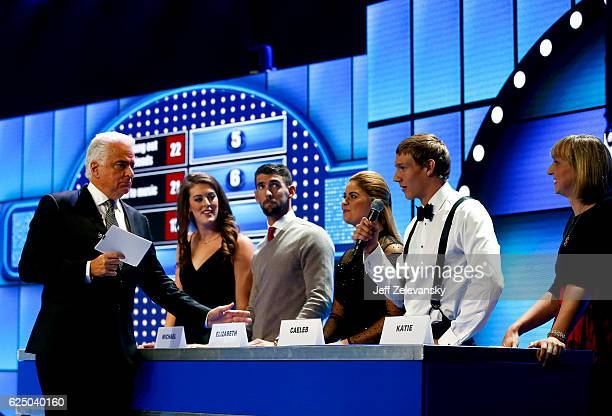 Actor John O'Hurley leads a game of Swimmer Family Feud with Allison Schmitt Michael Phelps Elizabeth Beisel Caeleb Dressel and Katie Ledecky during...