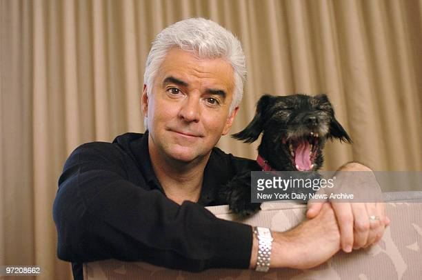 Actor John O'Hurley relaxes at the Phillips Club on W 66th St with Betty a dog that he rescued The 51yearold actor who is best known for his role as...