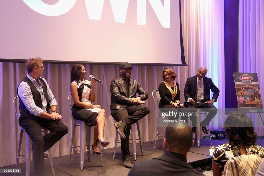 Actor John Schneider, actress Angela Robinson, director and producer Tyler Perry, actress Kendra C. Johnson, and actor Palmer Williams attend the OWN Press Lunch with Tyler Perry and the casts of 'The Haves and the Have Nots' and 'Love Thy Neighbor' on January 8, 2016 in New York City.