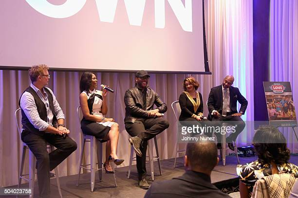 Actor John Schneider actress Angela Robinson director and producer Tyler Perry actress Kendra C Johnson and actor Palmer Williams attend the OWN...