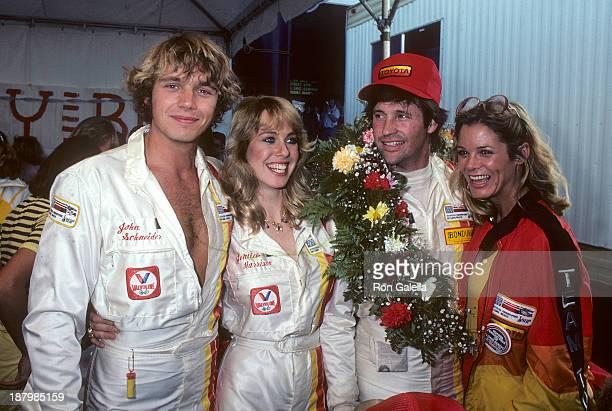 Actor John Schneider, actress Jenilee Harrison, actor Robert Hays and actress Melinda Naud attend the Fifth Annual Toyota Pro/Celebrity Race - Race...