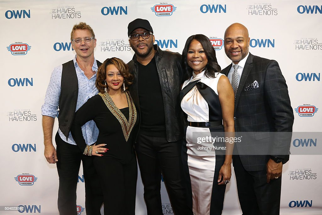 Actor John Schneider, actress Kendra C. Johnson, director and producer Tyler Perry, actress Angela Robinson and actor Palmer Williams attend the OWN Press Lunch with Tyler Perry and the casts of 'The Haves and the Have Nots' and 'Love Thy Neighbor' on January 8, 2016 in New York City.