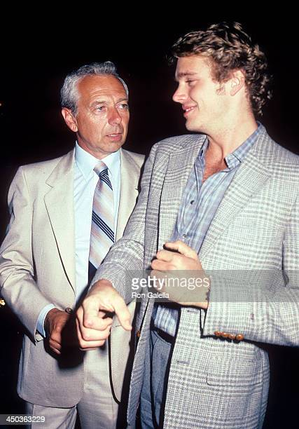 Actor John Schneider and father Jack attend John Schneider and Tawny Little's PreWedding Celebration on July 15 1983 at Spago in West Hollywood...