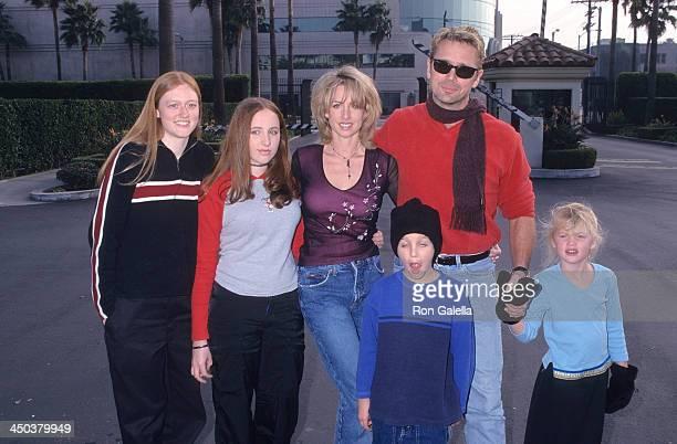 Actor John Schneider wife Elly Castle stepdaughter Leah Castle son Chasen Schneider and daughter Karis Schneider attend the Snow Day Hollywood...
