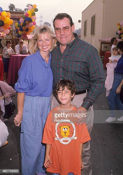 "Actor John Schuck, girlfriend Harrison Houle and his son Aaron attend the ""Oliver & Company"" Burbank Premiere on November 6, 1988 at Studio Theatre,..."