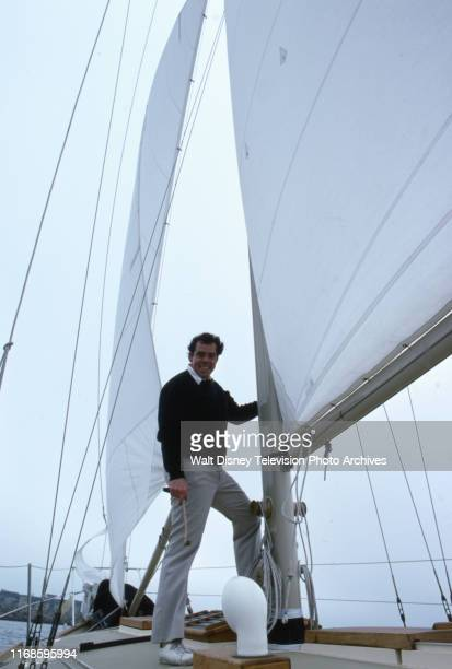 Actor John Schuck on his personal yacht, slice of life / behind the scenes for the ABC tv series 'Holmes & Yoyo'.