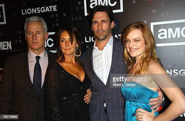Actor John Slattery actress Talia Balsam actor Jon Hamm and actress Elisabeth Moss arrive for AMC's 'Mad Men' Celebration for SAG WGA and DGA...