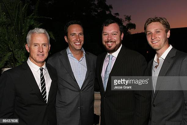 Actor John Slattery, AMC president and general manager Charlie Collier, actors Michael Gladis and Aaron Staton attend the 2009 TCA AMC cocktail...
