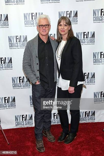 Actor John Slattery and actress Amy Morton attend the New York Film Critics Series preview screening of Bluebird at AMC Empire on February 16 2015 in...
