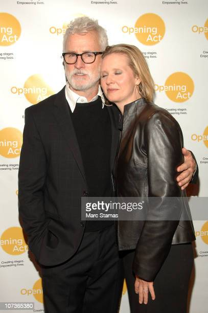 Actor John Slattery and Actress Cynthia Nixon attend a benefit reading of Hate Mail at New World Stages on December 6 2010 in New York City