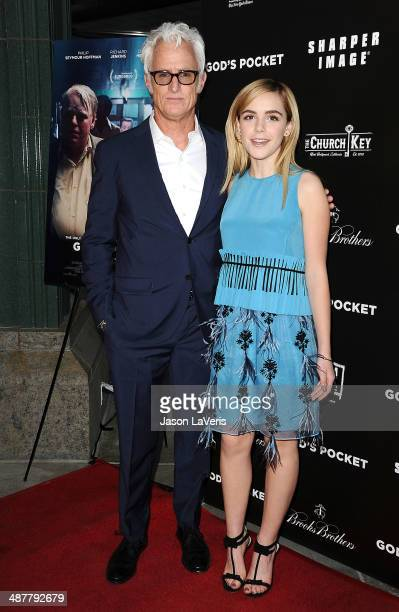 Actor John Slattery and actress Kiernan Shipka attend the premiere of 'God's Pocket' at LACMA on May 1 2014 in Los Angeles California