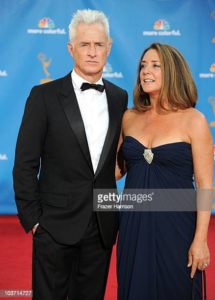 Actor John Slattery and actress Talia Balsam arrive at the 62nd Annual Primetime Emmy Awards held at the Nokia Theatre LA Live on August 29 2010 in...