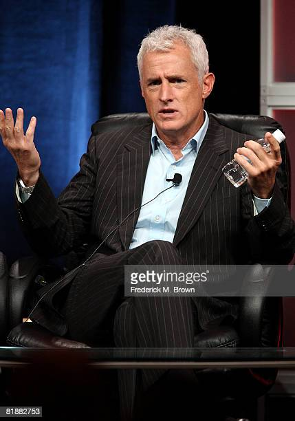 Actor John Slattery of Mad Men speaks during day two of the AMC Channel 2008 Summer Television Critics Association Press Tour held at the Beverly...