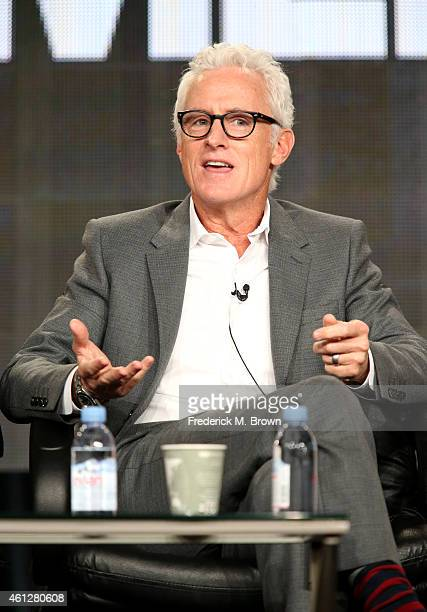 Actor John Slattery speaks onstage during the 'Mad Men' panel at the AMC portion of the 2015 Winter Television Critics Association press tour at the...
