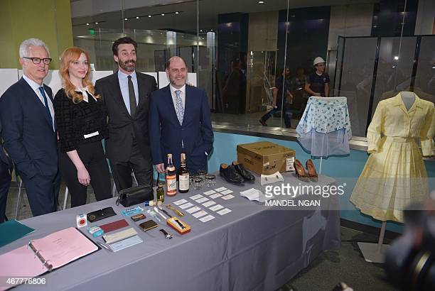 Actor John Slattery who played the character 'Roger Sterling' in the AMC television series 'Mad Men' actress Christina Hendricks who played 'Joan...