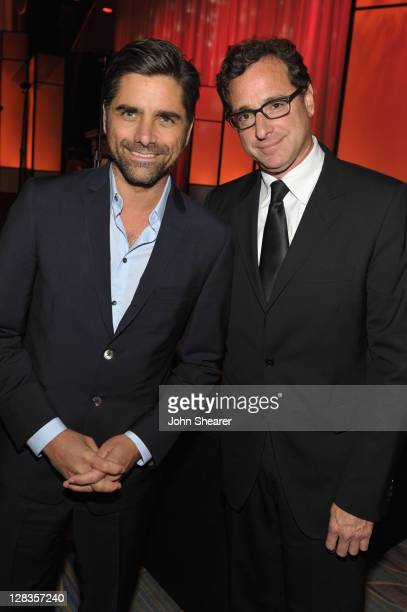 Actor John Stamos and actor/comedian and winner of the Rodney Respect Award Bob Saget attend the Visionary Ball presented by UCLA Neurosurgery held...