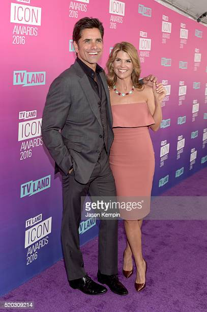 Actor John Stamos and actress Lori Loughlin attend 2016 TV Land Icon Awards at The Barker Hanger on April 10 2016 in Santa Monica California