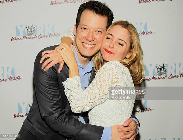 Actor John Tartaglia with actress Kerry Butler attend Big Opening Night After Party the at The York Theatre at Saint Peters on October 12 2014 in New...