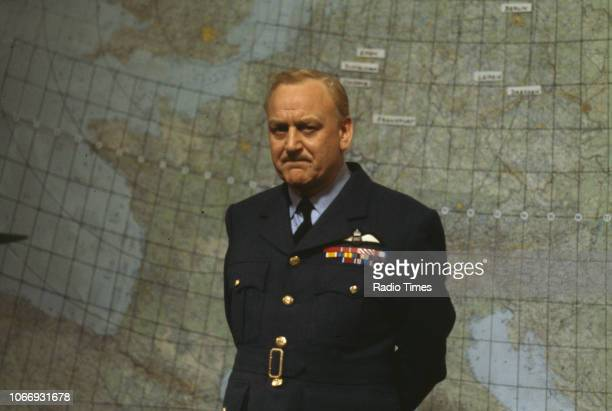 Actor John Thaw standing in front of a map of Europe in a scene from the BBC television drama 'Bomber Harris' February 21st 1989