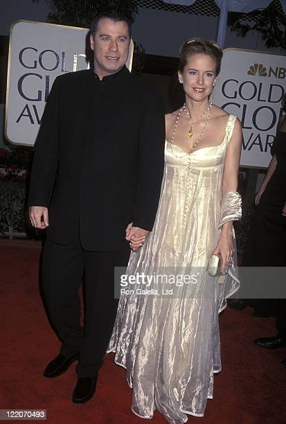 Actor John Travolta and actress Kelly Preston attend the 56th Annual Golden Globe Awards on January 24 1999 at Beverly Hilton Hotel in Beverly Hills...